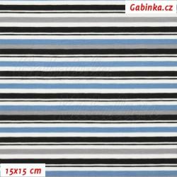 Zbytek - Látka úplet s EL - Kolekce N1, Proužky modré šedé černé na bílé, šíře 150 cm, 0,75 m