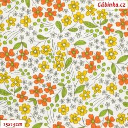 Plátno - Kytičky žluté a oranžové na bílé, šíře 140 cm, 10 cm