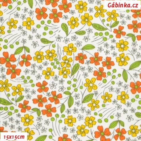 Látka, plátno - Kytičky žluté a oranžové na bílé, 15x15 cm