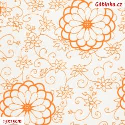 Látka, plátno - Obrysy květin oranžové na bílé, 15x15 cm