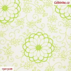 Plátno - Obrysy květin zelené na bílé, šíře 140 cm, 10 cm
