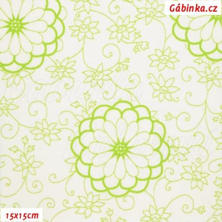 Látka, plátno - Obrysy květin zelené na bílé, 15x15 cm