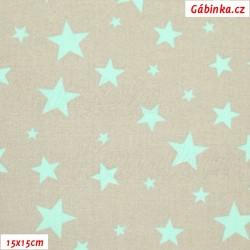 Plátno - Hvězdičky různě velké mentolové na šedé, šíře 160 cm, 10 cm