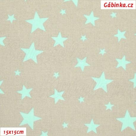 Látka plátno - Hvězdičky různě velké mentolové na šedé, 15x15 cm