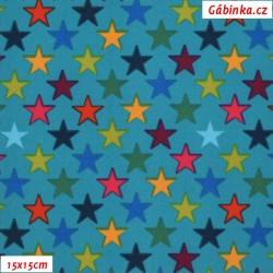 Zimní softshell - Barevné hvězdičky na zeleném tyrkysu, šíře 145 cm, 10 cm