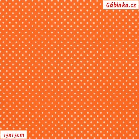 Plátno - Puntíky 1 mm bílé na oranžové, 15x15 cm