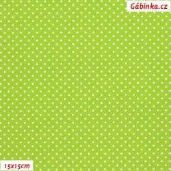 Plátno - Puntíky 1 mm bílé na zelené, šíře 150 cm, 10 cm, ATEST 1