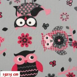 Látka - HF šusťák - Růžové sovy na šedé