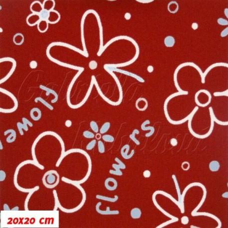 Šusťák kočárkový, Flowers červená, 20x20cm