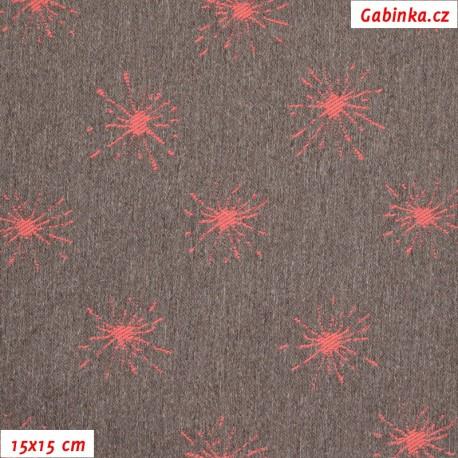 Kočárkovina žakár, Jiskřičky červené na červenošedém melíru, 15x15cm