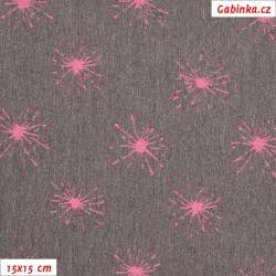 Kočárkovina žakár - Jiskřičky fialové na fialovošedém melíru, šíře 160 cm, 10 cm, ATEST 1
