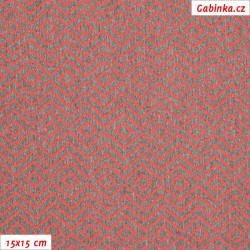 Kočárkovina žakár - Zrcadlový cik-cak červený na červenošedém melíru, šíře 160 cm, 10 cm