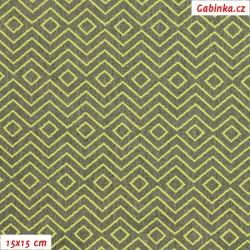 Kočárkovina žakár - Zrcadlový cik-cak zelený na zelenošedém melíru, šíře 160 cm, 10 cm
