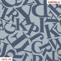 Kočárkovina žakár - Písmena na sv. modré, šíře 160 cm, 10 cm