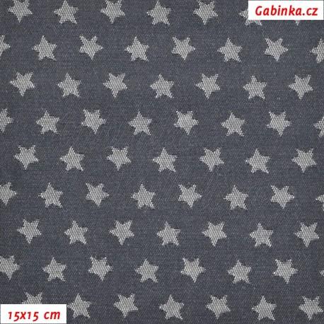 Kočárkovina žakár - Hvězdičky na riflovině, 15x15 cm