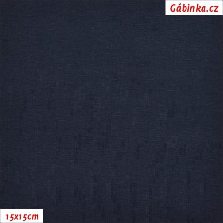 Látka, úplet, jednolíc, tmavě modrý, b.2166, 15x15 cm