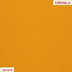 Látka, úplet, jednolíc, hořčicový, b.1844, šíře 180 cm, 10 cm, ATEST 1