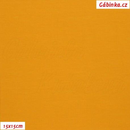 Látka, úplet, jednolíc, hořčicový, b.1844, 15x15 cm