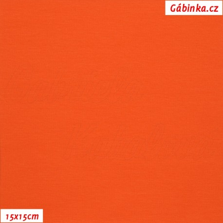 Látka, úplet, jednolíc, oranžový, b.0117, 15x15 cm