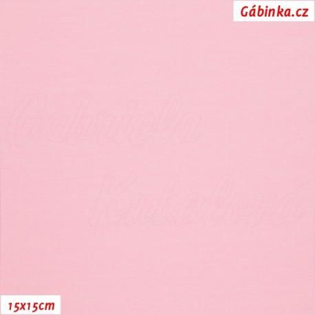 Látka, úplet, jednolíc, světle růžový, b.0272, 15x15 cm