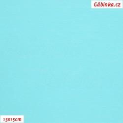 Látka, úplet, jednolíc, světle tyrkysový, b.0623, 15x15 cm