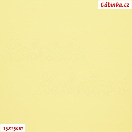 Látka, úplet, jednolíc, světle žlutý, b.0932, 15x15 cm
