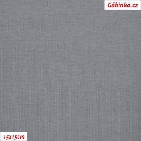 Látka, úplet, jednolíc, středně šedý, b.2182, 15x15 cm