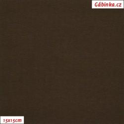 Látka, úplet, jednolíc, tmavě hnědý, b.2067, 15x15 cm