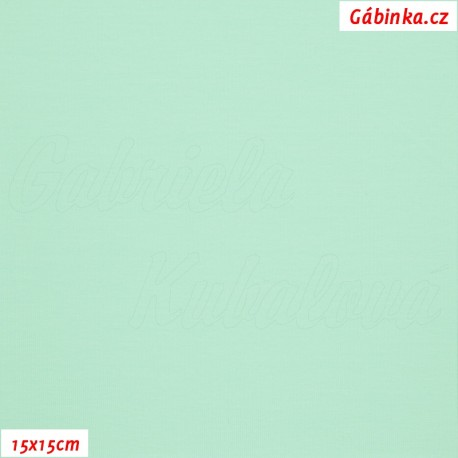 Látka, úplet, jednolíc, mentolový, 15x15 cm