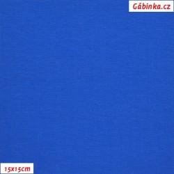 Látka, úplet, jednolíc, královsky modrý X, 15x15 cm