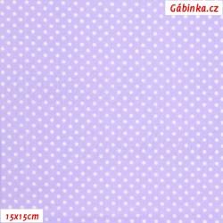 Plátno - Puntíky 2 mm bílé na sv. fialové, šíře 140-150 cm, 10 cm, ATEST 1