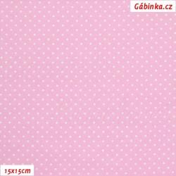 Plátno - Puntíky 1 mm bílé na sv. růžové, šíře 140-150 cm, 10 cm, ATEST 1