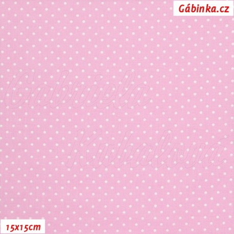 Plátno - Puntíky 1 mm bílé na sv. růžové, 15x15 cm