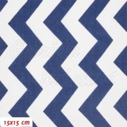 Plátno - Cik-cak tm. modrý a bílý, šíře 160 cm, 10 cm
