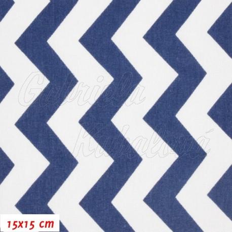 Plátno, cik-cak tmavě modrá a bílá, 15x15cm