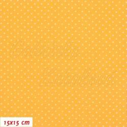 Plátno - Puntíky 1,5 mm bílé na žlutooranžové, šíře 150 cm, 10 cm, ATEST 1