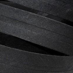 Šikmý proužek bavlněný - černý 999143, šíře 14mm, 1m