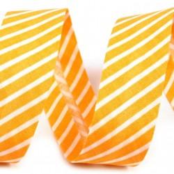Šikmý proužek bavlněný - žlutý proužek, šíře 20mm, 1m