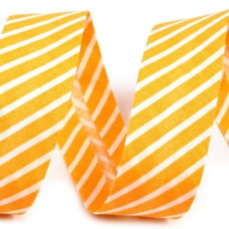 Šikmý proužek bavlněný - žlutý proužek, šíře 20mm