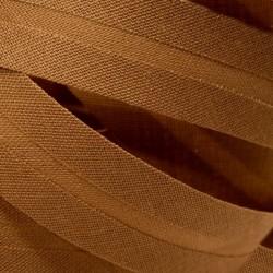 Šikmý proužek bavlněný - hnědý 800821, šíře 14mm, 1m