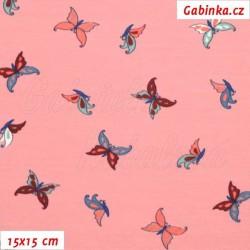 Látka úplet s EL - Motýlci na růžové, šíře 150 cm, 15x15 cm