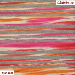 Viskóza s EL - Žíhané proužky červenooranžové, šíře 160 cm, 10 cm