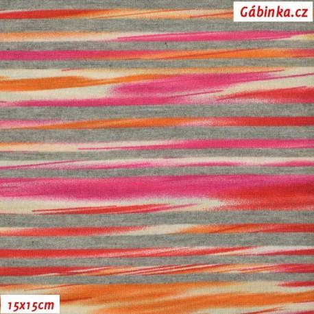 Viskóza s EL, Žíhané proužky červenooranžové, 15x15 cm