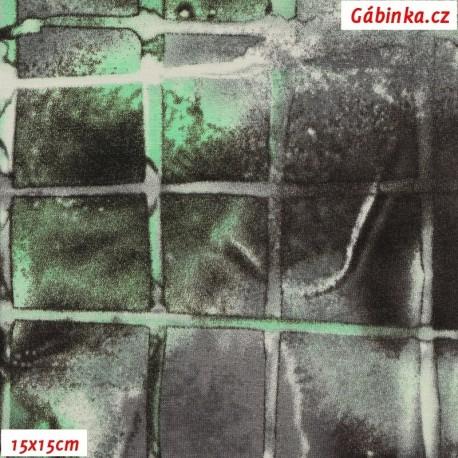 Viskóza s EL, Mozaika zelenočerná, 15x15 cm