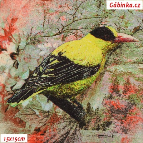 Viskóza s EL, Ptáčci na červené a zelené, 15x15 cm