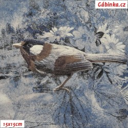 Viskóza s EL - Ptáčci na modré a šedé, šíře 160 cm, 10 cm