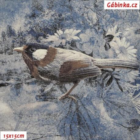 Viskóza s EL, Ptáčci na modré a šedé, 15x15 cm