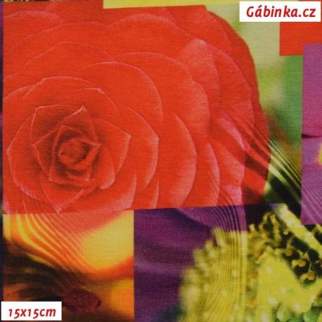 Viskóza s EL, Detaily květů červené žluté a fialové, 15x15 cm