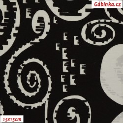 Viskóza s EL - Spirály-ulity bílé na černé, šíře 160 cm, 10 cm