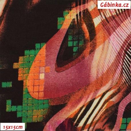 Viskóza s EL, Zvířecí motivy růžové se zelenou, 15x15 cm